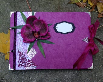 Fuchsia pink wedding photo album, memory book, guestbook with Orchid