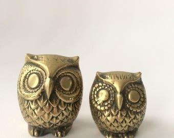 Vintage Brass Owl Pair
