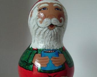 Painted Santa Gourd, Mini Gourd, Santa Ornament, Gourd Ornament