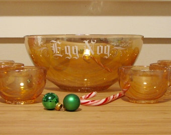 Vintage Jeannette Marigold Carnival Glass Egg Nog Set, Bowl and 6 Matching Cups — Gorgeous, Lustrous Midcentury Holiday Cheer