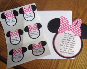 MINNIE MOUSE Birthday Party Invitations & Matching Address Labels Stickers Seals SET of 12