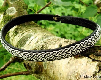 Shieldmaidens Black Leather Viking Necklace Collar decorated with Pewter Braid FREKI Norse Sami Choker Custom Handmade 4U