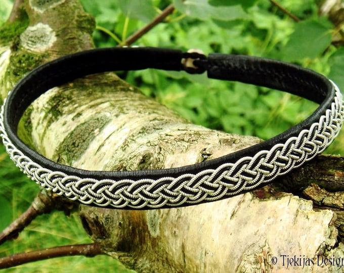 Shieldmaidens Black Leather Viking Necklace Collar decorated with Pewter Braid FREKI Norse Sami Choker Custom Handmade 4U