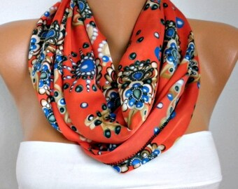 Red Floral Printed Infinity Scarf Spring Scarf Cowl Scarf Shawl Circle Scarf Loop Scarf  Gift Ideas For Her Women Fashion Accessories