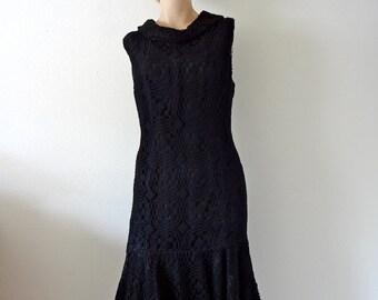1960s Cocktail Dress / black crochet lace party dress / mod vintage fashion