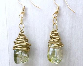 Wire Wrapped Ice Flake Quartz Drop Earrings