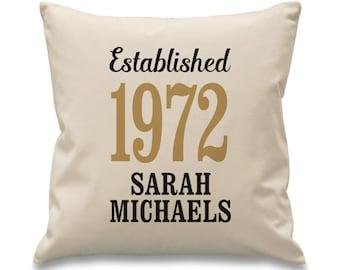 Birthday cushion Birth year cushion Personalised Established cushion 21st 30th 40th 50th 60th 70th 80th cushion Year of birth gift