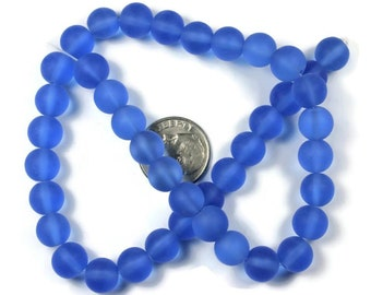 42 Sapphire Blue Frosted Round Glass Beads 8mm