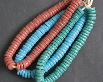 African Disc Beads Krobo Recycled Glass Discs Spacers  10-11 mm Handmade