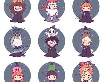 "HP Chibi Stickers or Mini Prints 6x8"". Harry, Ron, Hermione, Luna, Ginny, Neville, Dumbledore, Voldemort, Draco"