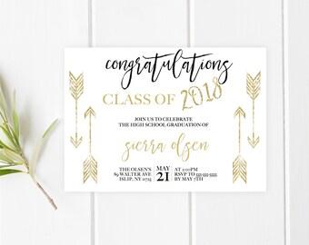 Graduation Party Invitation, College Graduation, High School Graduation, Vintage Graduation Party Invitations, Boho Grad Party Invites [484]