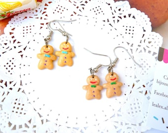 Gingy gingerbread man, fimo earrings snowmen bread spices, Mr. snowman, women gift, anniversary gift idea