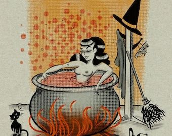 Witches bath time  - Print