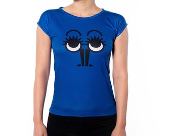 Blue Black Minimalistic Character Design Slim Fit T-Shirt