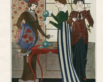 ART DECO Print by Georges Barbier of Three Women Having Tea from 1913