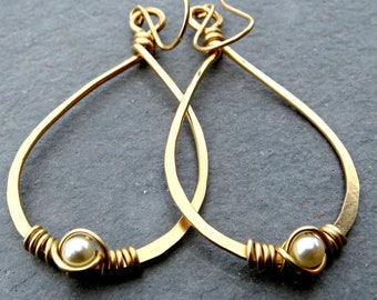 Pearl Teardrop Earrings, 14K Gold Fill Earrings, Wire Wrapped Jewelry, Eco Friendly Jewelry Gold Teardrops Gifts for Her