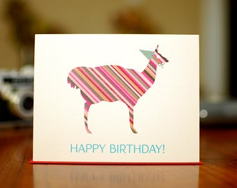 Good Times Llama Birthday Card on 100% Recycled Paper