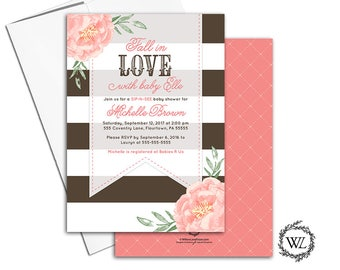 Fall baby shower themes for girls, Fall baby shower ideas, sip and see invitation for girl, coral, brown fall invitations - WLP00799