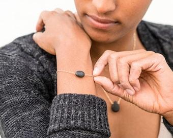 Dainty Oval Lava Bracelet, Lava Bracelet, Essential Oil Diffuser, Oil Bracelet, Aromatherapy Diffuser, Healing Stones, Hypoallergenic