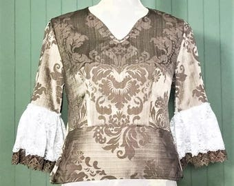 Gold Satin Flared Lace Peplum Top Size 8