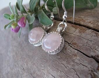 Rose quartz earrings, Pink Earrings, Silver  earrings, Gemstone earrings, Israeli jewelry, Bridal earrings, Dangle earrings, Pink quartz