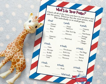 """What's in Your Purse- Baby Shower Activity for """"Baby BOYage"""" Themed Baby Shower. Baby Shower Game/ Baby Shower Activity. DIGITAL DOWNLOAD*"""