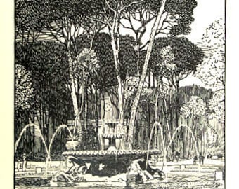 Rudolph Ruzicka Original Woodcuts Fountains of Papal Rome 1st Ed. 1915 Book