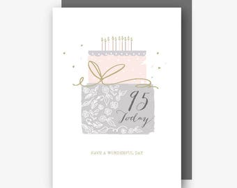 95th Birthday Card - 95 Today - Have a Wonderful Day - With Gold Foil Finishing