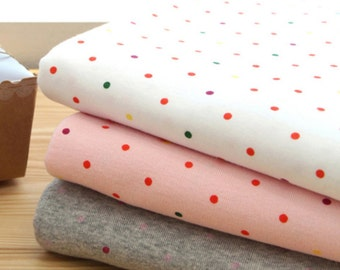 Stretchy Rib Knit Fabric 4 mm Polka Dot in 3 Colors By The Yard