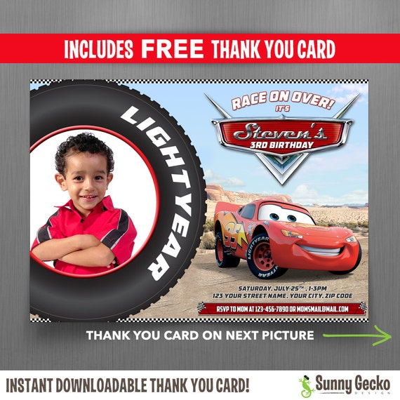 Disney Cars 7x5 In Birthday Party Invitation With Free