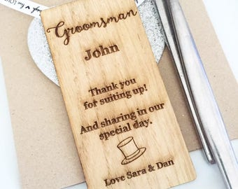 Groomsman Place Setting, Groomsman Wooden Place Setting, Place Cards, Name place, Place Setting, Groomsman gift, PS02