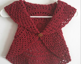 Crocheted Ruby Red Circle Boho Vest Cardigan Toddler 2T