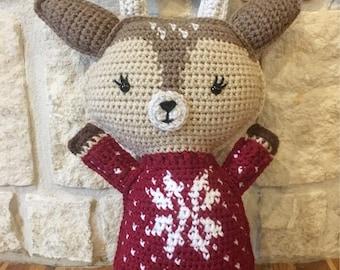 Crocheted Reindeer Ragdoll-Crocheted Reindeer Plushie-Crocheted Reindeer Pillow-Crocheted Reindeer Stuffed Animal