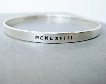 Wide Solid Sterling Bangle - Personalized Bangle, Birthday Bangle, Stamped Bangle, Bracelet, Quote Bangle, Stamped