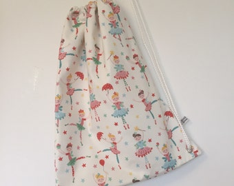 New! Childs Swim Bag - Gorgeous Ballerina Girls Fabric. Wet bag. Made in Cornwall.