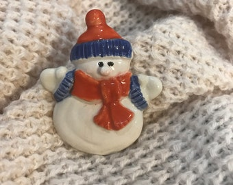 Magnetic ceramic snowman