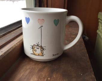 Someone loved this vintage boynton LOVE coffee mug so much that the hearts have become almost invisable vintage love cat coffee mug