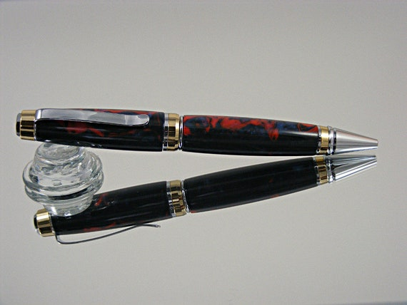 Handcrafted Cigar Style Ink Pen in Chrome with 24K and Coral Tide Acrylic