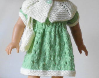 Beautiful set of clothes to knit for an 18 inch doll - American Girl, My Generation, Kidz n Katz etc