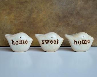 Rustic clay home sweet home birds ... Three handmade keepsake clay birds... great housewarming or welcome home gift