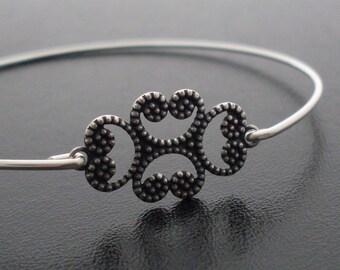 Bangle Bracelet Karla - Silver Tone Stamping