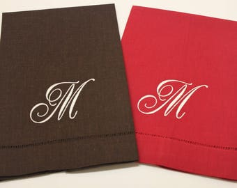 Single Initial Script Monogram Embroidered Linen And Cotton Hemstitched  Kitchen Bath Guest Hand Fingertip Towel