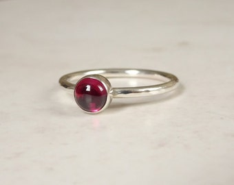 Silver Rhodolite Garnet Ring - Stacking Ring - Pink Stone Ring - Sterling Silver Ring - January Birthstone Ring