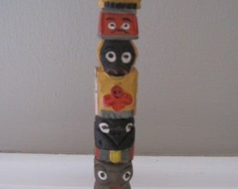 TOTEM POLE Vintage Wooden Hand Painted Hand Carved Totem Pole 70s Northwest Coast