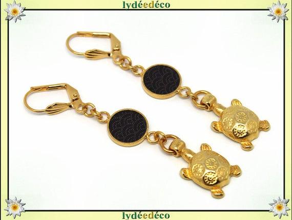 Japan brass earrings gold fine 24 k turtle wave sea: black resin seigaiha gift birthday mother's day wedding thank you teacher