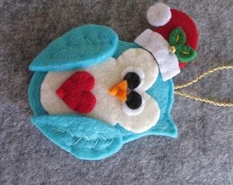 Felt Christmas Ornament - Christmas Ornament -  Felt Owl ornament - Christmas Owl ornament - Handmade Ornament - Christmas gift -