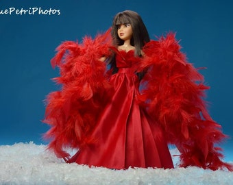 Fashion doll photos, still life photography, toy photography, barbie doll photos, Liv Doll Photos, fine art photography, red dress and boa