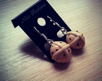 Hot Cross Buns dangle earrings