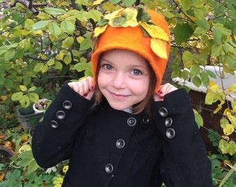 felt hat puFelt retro style hat for women orange felted hat Felt cap Felted hood Wool hat Wool hood
