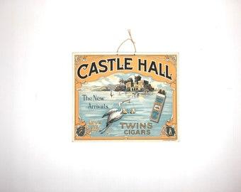 Antique Cigar Sign Castle Hall Stork Cigar Sign 1920s Cardboard Cigar Sign Castle Hall Old Cigar Advertising Sign